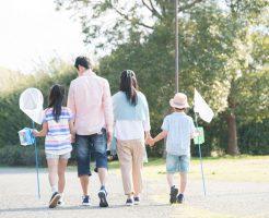 公園で仲良く遊んでいる家族
